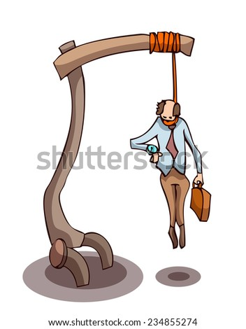 Businessman hanging from the Gallows, looking at his Wristwatch, Vector Illustration isolate on White Background.  - stock vector