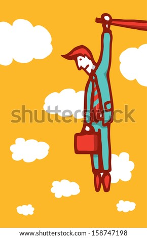 Businessman hanging on a ledge - stock vector