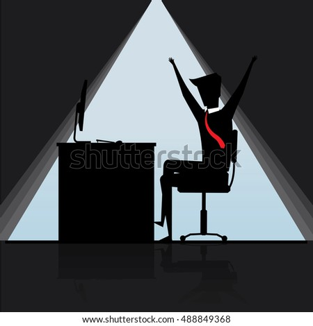 Businessman happy is working in his office, Business Concept, vector