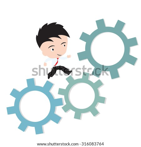 businessman happy to running on gear, business working concept, presented in vector form
