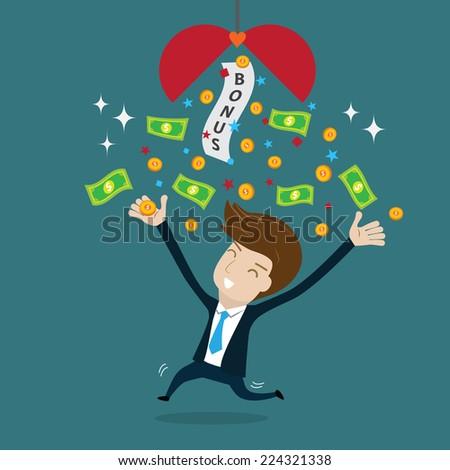 Businessman happy with bonus.vector illustration for success concept.  - stock vector