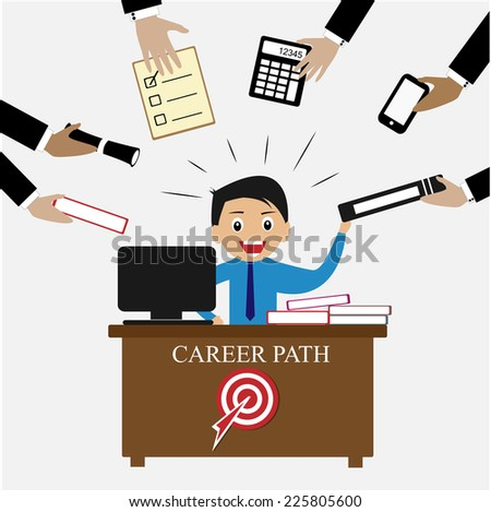 Businessman happy with hard working to achieve career path in human resources concept - stock vector