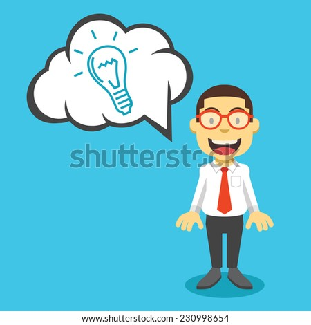 Businessman has an idea. Creative vector flat illustration. Cute mascot concept. Trendy style graphic design elements. Isolated on blue background. - stock vector