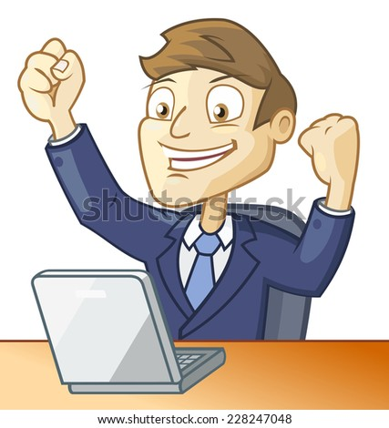 Businessman has found solution while working on the computer - stock vector