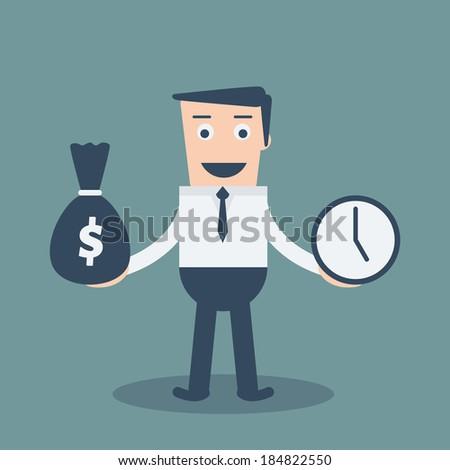 Businessman has money bag and clock. Concept Good Businessman has money and time - stock vector