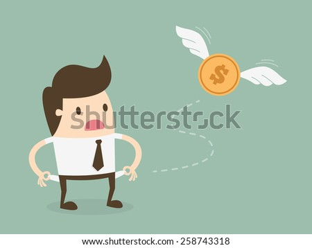 Businessman has no money - stock vector