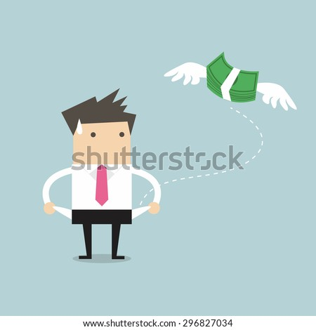 Businessman has no money vector - stock vector