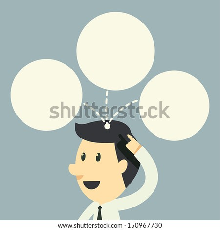 businessman have idea on head - stock vector