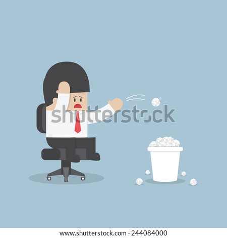 Businessman have no idea and throwing crumpled paper to trash, VECTOR, EPS10 - stock vector