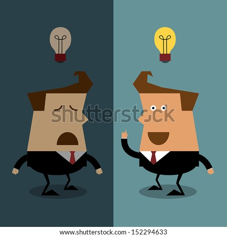 Businessman have no idea with businessman get idea, Businessman concept