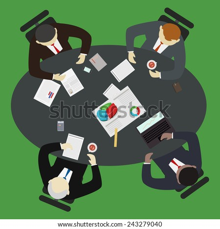 Businessman having a meeting around a table vector illustration. Brainstorming and teamwork concept. - stock vector