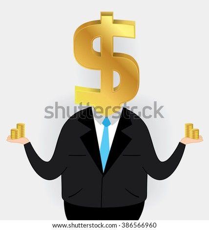 Businessman head of a gold dollar sign, business concept vector