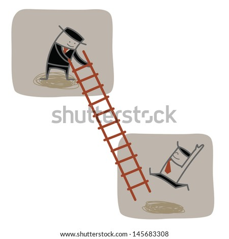 businessman help another to climb ladder up  - stock vector