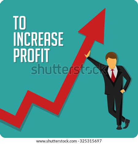Businessman help at growing chart. Vector illustration. Business development, increase in profit.