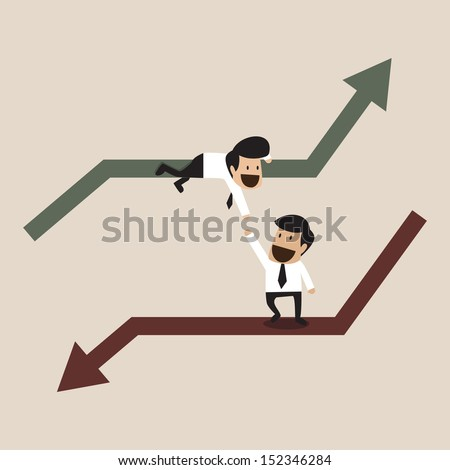 Businessman help each other - stock vector