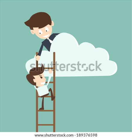 Businessman help to pull another from bottom of cloud  - stock vector