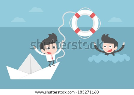 businessman helping friend, concept cartoon. - stock vector