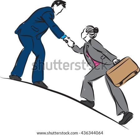BUSINESSMAN HELPING TO CLIMB BUSINESSWOMAN CONCEPT ILLUSTRATION - stock vector