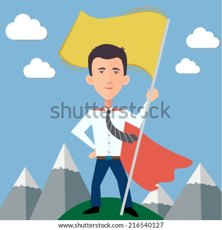 businessman hero standing on top of the world with a flag