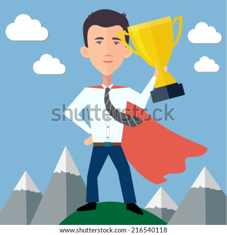 businessman hero standing on top of the world with a trophy  - stock vector