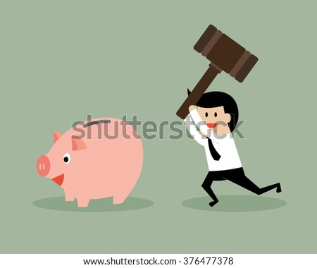 Businessman hit piggy bank by hammer. Business and finance concept.