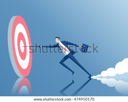 businessman hits the target with a rapier, employee running fast to the goal, business concept of purpose and success