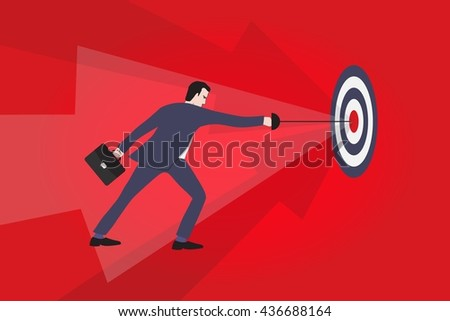 Businessman hitting a target - Business concept illustration - stock vector