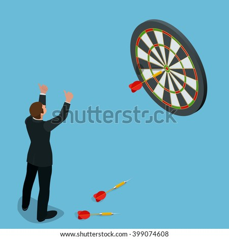 Businessman hitting the center of target. Aiming for a high target concept. Business idea concept. Flat 3d isometric vector illustration. - stock vector