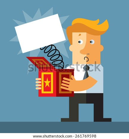 Businessman hold a jack in the box toy.Blank sheet  springing out of a box. Business flat vector illustration. - stock vector