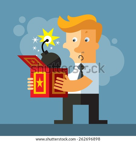 Businessman hold a jack in the box toy. Bomb  springing out of a box. Business flat vector illustration. - stock vector