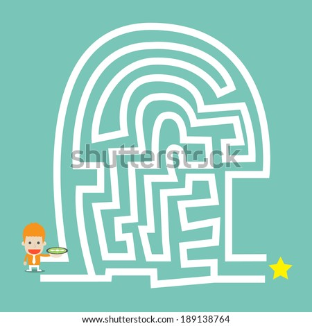 Businessman hold compass go to the maze ,Vector cartoon business - stock vector