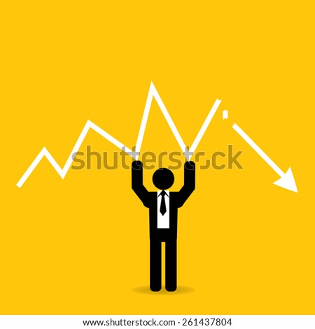 businessman hold graph broken down : business concept on yellow background