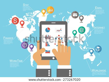 Businessman hold phone and world map with location pointer ( Infographic vector ) - stock vector