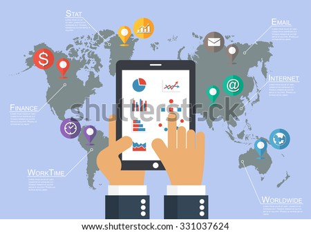 Businessman hold tablet and world map with location pointer ( Infographic vector ) - stock vector