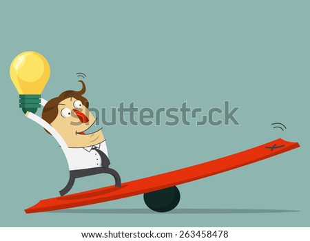 Businessman  hold the bulb of idea and stand on the lever. The way to success with his idea. Cartoon character. Vector. Illustration