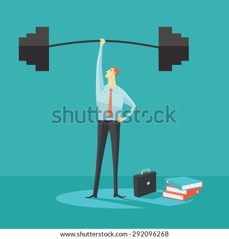 Businessman holding a barbell with one hand, the concept of achievements in business-vector illustration. - stock vector