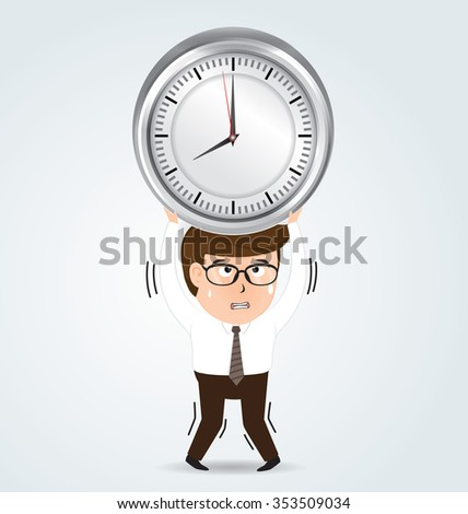 Businessman holding a big alarm clock, business concept, vector
