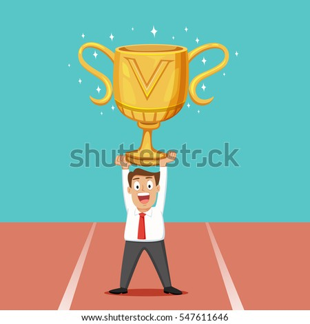 Businessman Holding A Big Trophy Cup Vector Illustration Cartoon