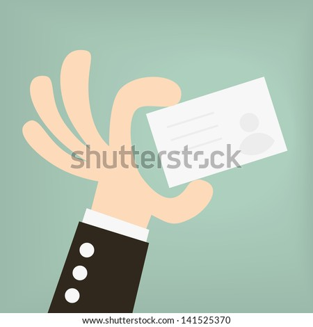 businessman holding a business card - stock vector