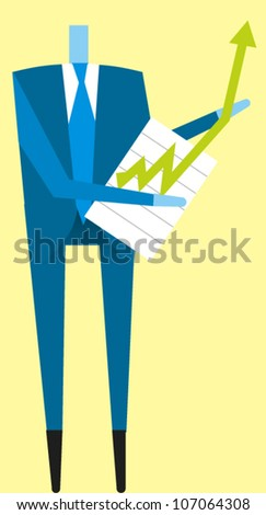 Businessman holding a chart with an arrow jumping off the chart - stock vector