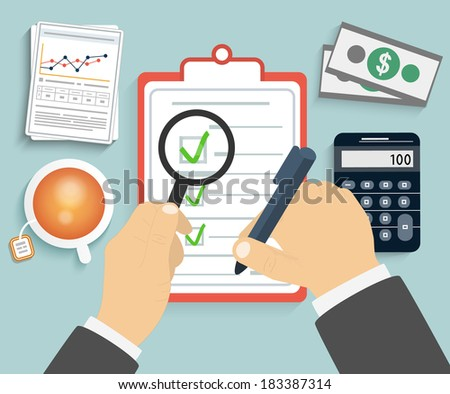 Businessman holding a clipboard, magnifying glass and writing signature - stock vector
