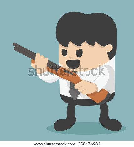 Businessman holding a gun  - stock vector