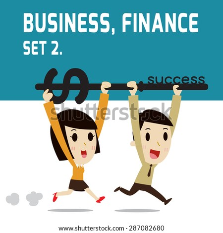 businessman holding a key of success. running . go to achievement. elements. modern design flat character. isolated on white background. graphic vector illustration. character teamwork concept. - stock vector