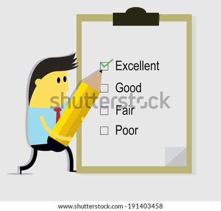 Businessman holding a pen and writing check mark on paper,cartoon vector