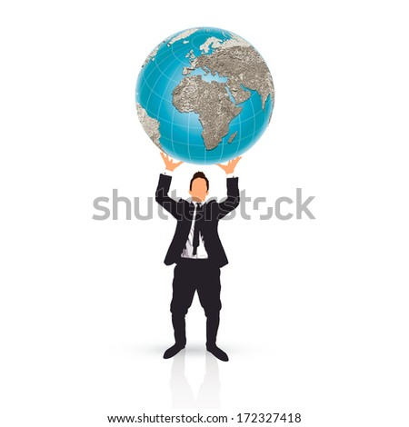 businessman holding a planet earth ball