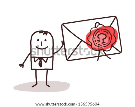 Businessman Holding a Sealed Envelope - stock vector