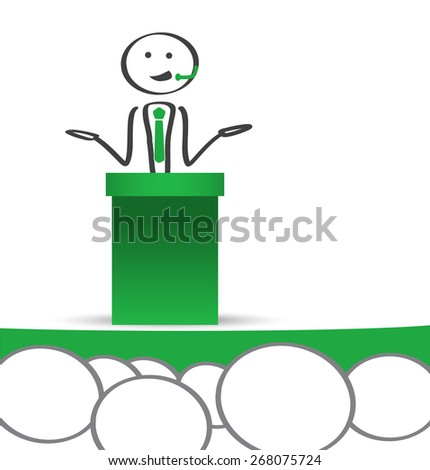 Businessman holding a speech in conference - stock vector