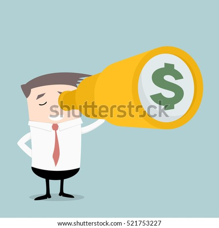 businessman holding a spyglass  with money sign, eps10 vector illustration