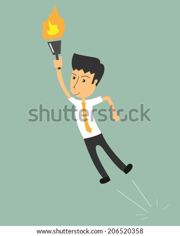 Businessman holding a torch and jump on the competition. The concept of race wins