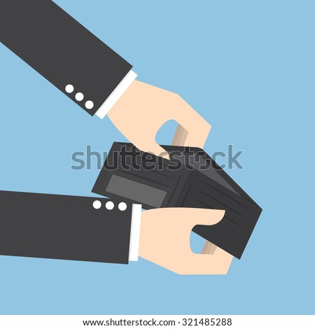 Businessman holding an empty wallet - stock vector